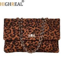 HIGHREAL Chain Bags Flap Envelope Hand Bag Leopard Print Shoulder Handbags Female Messenger Bag Girls Crossbody Bag Sac A Main