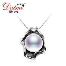 DAIMI Enorme Perla Colgante 10-11mm Blanco Natural de La Perla Colgante de Plata de Ley 925 Colgante de Collar de la Marca de Alta Calidad joyería