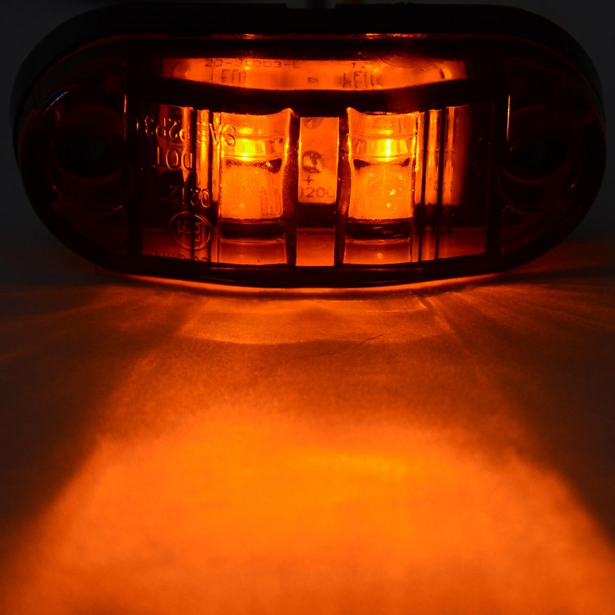 Mayitr 4pcs 12V/24V 2LED Car Trailer Truck Side Marker Indicator Light Amber Side Marker Lamps New