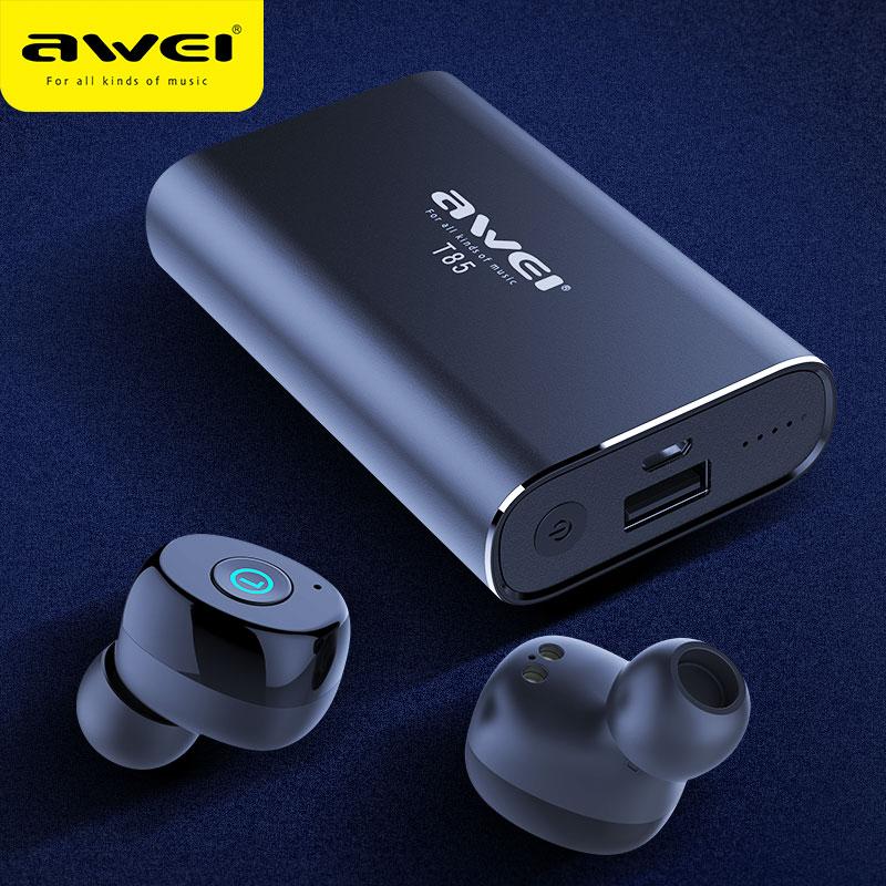 AWEI TWS True Wireless Earbuds Bluetooth 5 0 1800mAh Power bank Mini 3D Bluetooth Earphone Headphones