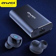 AWEI TWS prawdziwe bezprzewodowe wkładki douszne Bluetooth 5.0 1800mAh Power bank Mini 3D słuchawki Bluetooth słuchawki z podwójnym mikrofon do telefonu