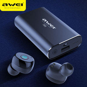 Image 1 - AWEI TWS prawdziwe bezprzewodowe wkładki douszne Bluetooth 5.0 1800mAh Power bank Mini 3D słuchawki Bluetooth słuchawki z podwójnym mikrofon do telefonu