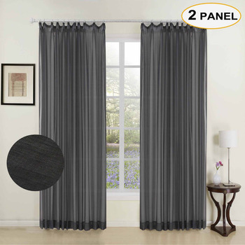 MOMO Black Solid Sheer Curtains Double Pleated Window Drape Curtains For Bedroom Living Room Curtain With Custom Size (2 Panels)