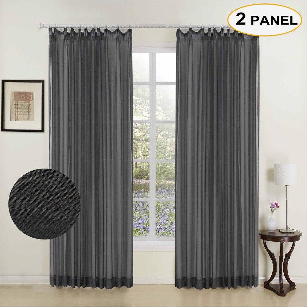 MOMO Noir Solide Sheer Rideaux Double Plissée Fenêtre Drapé Rideaux Pour Chambre Salon Rideau Avec Taille Personnalisée (2 Panneaux)