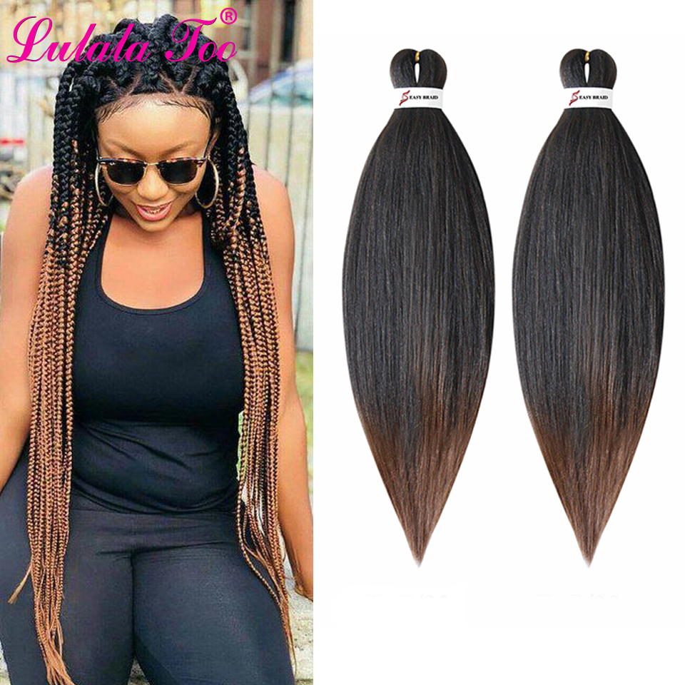 26inch Pre Stretched Ombre Braiding Hair Jumbo Braid Hair Perm Yaki Ez Braid Synthetic Hair Extensions For Crochet Twist(China)