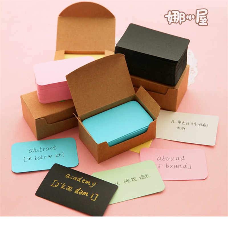 100 Pcs Kraft Paper Card Blank Business Cards Message Memo Party Gift Thank You Cards Label Bookmarks Learning Cards 4 Colors