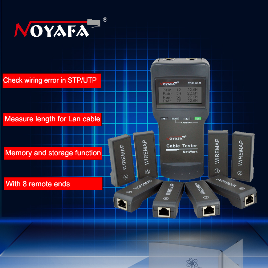 Cable length tester Free shipping NOYAFA NF8108 M Network Cable Tester Meter Length8 remote units Cat5E