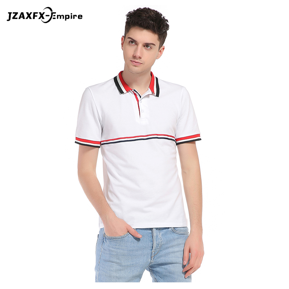 2015 new real camisa solid polo shirt mens fashion cool design short - New Arrival Men White Polo Shirt Short Sleeve Mens Striped Polo Shirt Brand Clothing Design