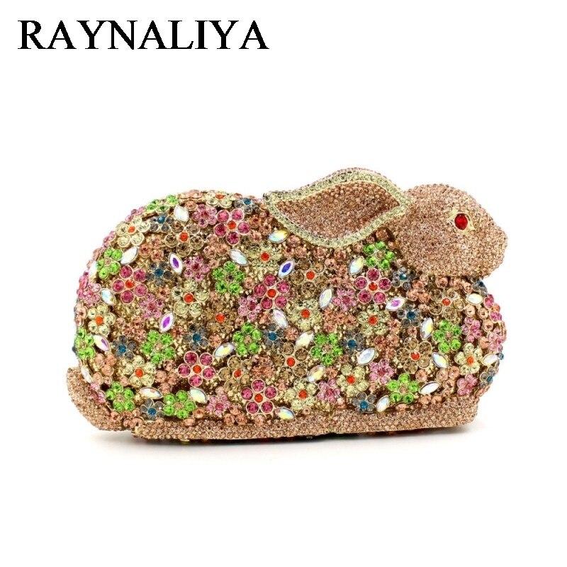 Woman Brand Fashion New Cute Noble Diamond Colorful Rabbit Character Dinner Bag Vintage Handbag Lady Evening Bags ZH-A0224