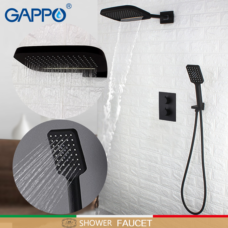 GAPPO shower Faucet black thermostatic shower mixer waterfall faucet bathroom shower mixers tap bath faucet thermostatic shower