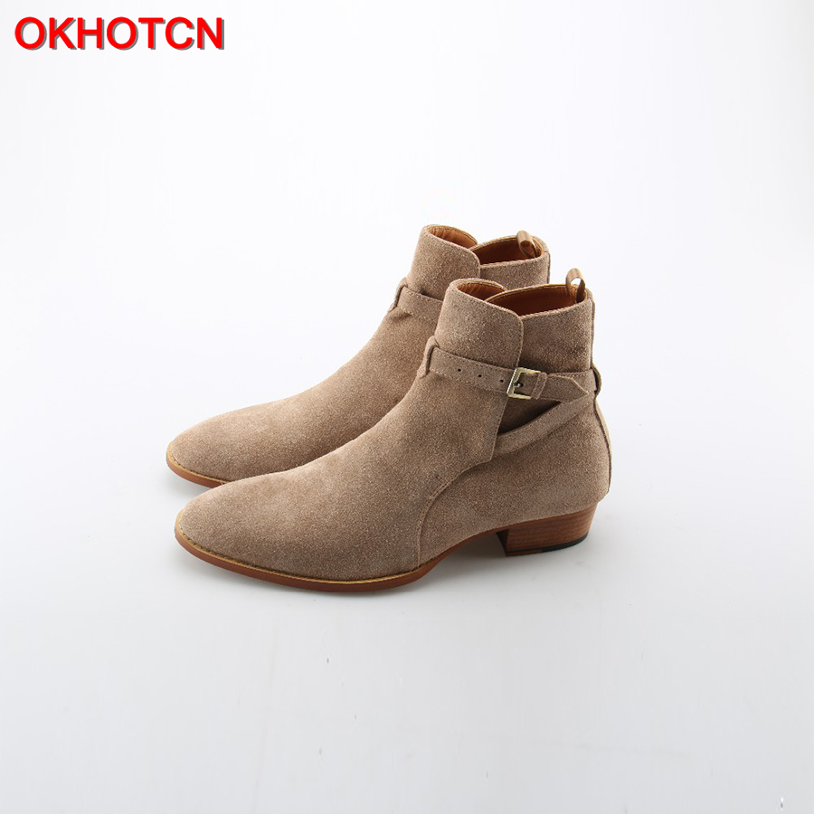 OKHOTCN Handmade Vintage Luxury Men Genuine Leather Suede Boots Wyatt Classic Harness Ankle Buckle Strap Chelsea Men Boots okhotcn vintage men chelsea boots genuine leather suede rome style man ankle boots zipper male casual buckle shoes sapato botas