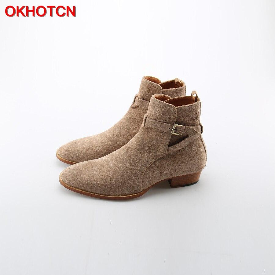 OKHOTCN Handmade Vintage Luxury Men Genuine Leather Suede Boots Wyatt Classic Harness Ankle Buckle Strap Chelsea Men Boots