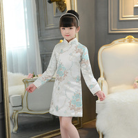 Girl Winter Long Sleeve Embroidery Cheongsam Dress Cotton Qipao Kids Chinese Style Evening Dresses Retro Dressing Gown