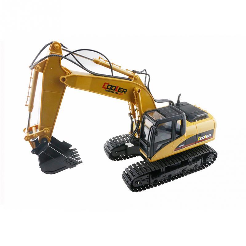 1:14 2.4G 15CH High Quality Plastic Simulation Remote Control Grab Excavator Children RC Rotation Car Brown Boys Toys Gift