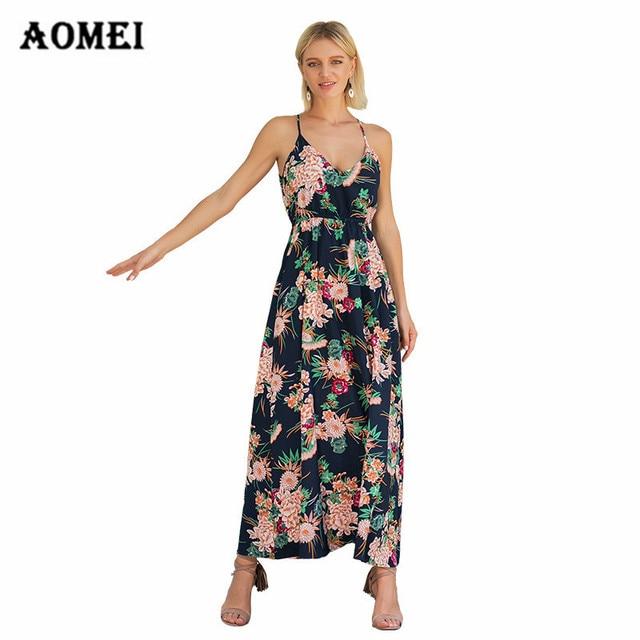 Women Cami Dress Printed Off Shoulder Maxi Long Tropical Floral Sundresses  Girls Sexy Backless Summer Fashion 461af6fa4d12