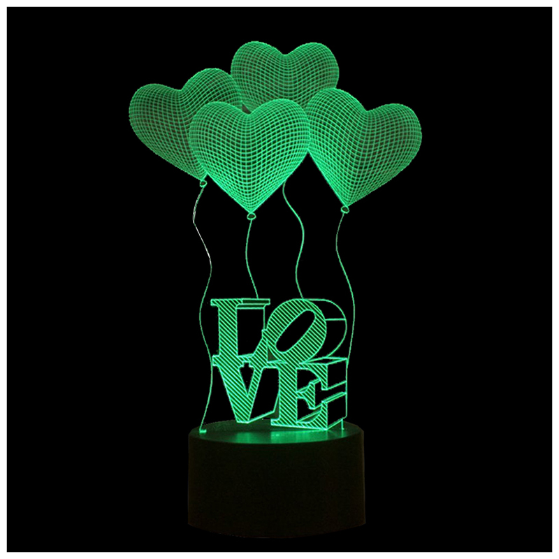 Four-Love-Heart 3D Night Light, Color Changing Touch Table Desk Lamp for Gifts Transparent