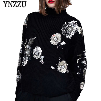 YNZZ New Winter Sequins Turtleneck Warm Womens Sweater Long Sleeve Knitted Pullovers Jumper Christmas Women YT495