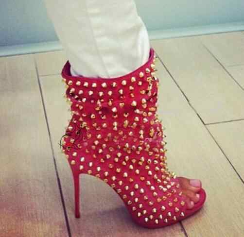 Autumn Newest Rivets Studded High Heel Ankle Boots Sexy Peep Toe Rose Pink Suede Thin Heels Shoes Riding Boots