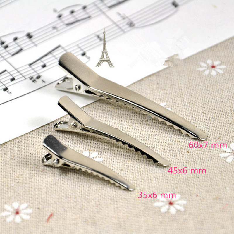 цена на 50pcs 35mm 45mm 60mm Alligator Hair Clips Headwear Barrette Metal Clips Girls Hairpin for DIY Hair Accessories