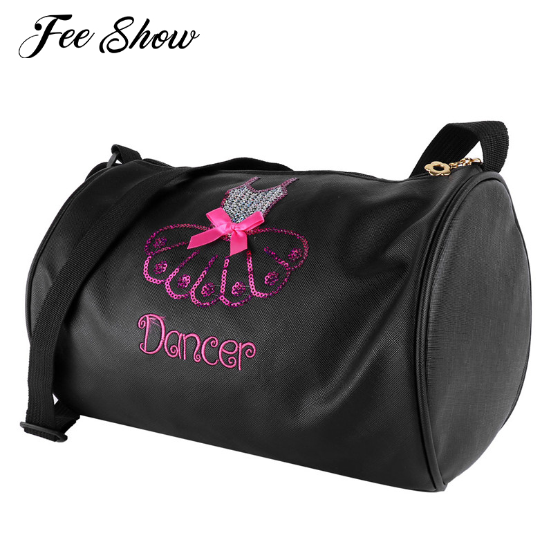 Adorable Kids Girls Ballet Dance Bag Shiny Sequins Embroidered Dress Dance Bag Duffle Elegant Ballerina Ballet Bag Shoulder Bags
