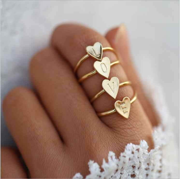 Fashion 1PCS Gold Silver Color Heart Letters Rings For Women DIY Name Ring Set Female Statement Engagement Party Jewelry
