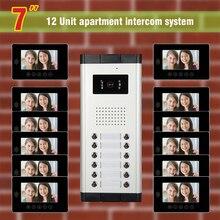 apartment intercom system for 12 units apartment 7 inch monitor video door phone intercom doorbell system night vision camera