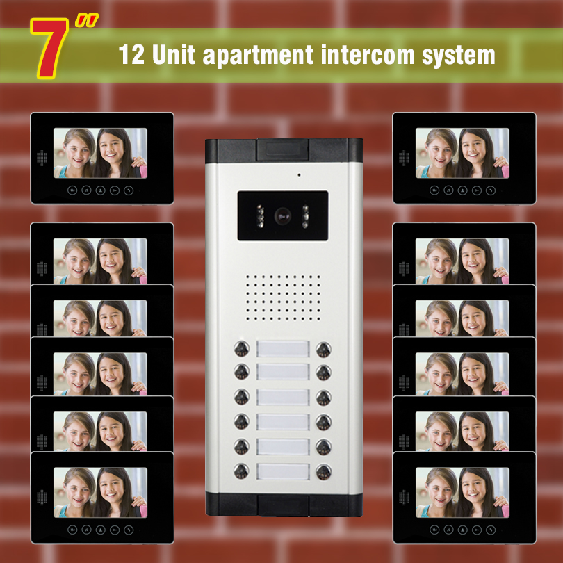 apartment intercom system for 12 units apartment 7 inch monitor video door phone intercom doorbell system night vision camera my apartment