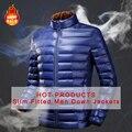 DIQUES 2015 Estilo Britânico de Moda & Business Casual homens casaco AZUL Para Baixo homens Jaqueta de Pato Para Baixo homens jaqueta parka316630 Coatbrand