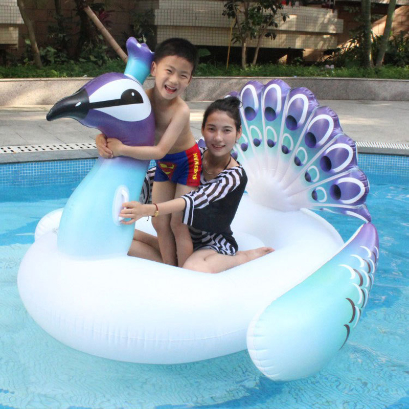 190 160 140cm giant inflatable peacock pool float 2018 new peahen water toys for adults unicorn for Inflatable swimming pool for adults india