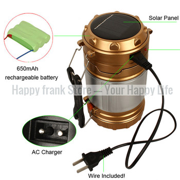 Portable Lantern LED Lamp Light Outdoor Solar Powered Camping Lights Rechargeable Flashlight Torch for Camping Hiking Tent 5