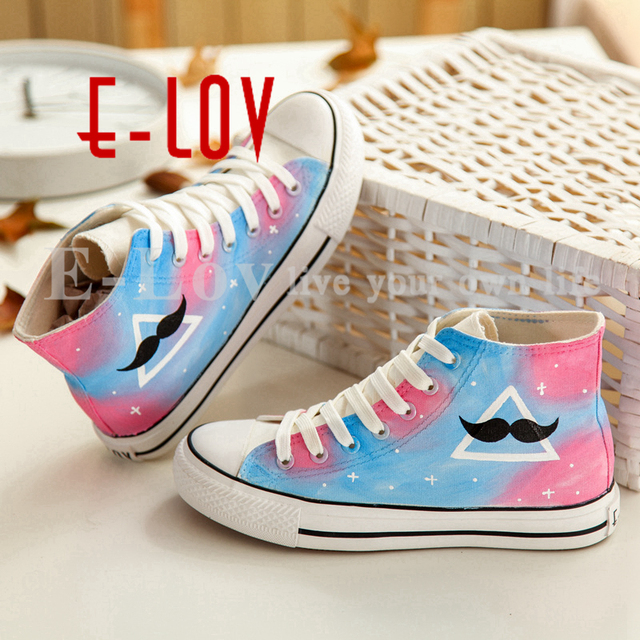 E-LOV 4 Special Colorful Rainbow High Painting Designs Hand-Painted Canvas Shoes Personalized Adult Casual Shoes Platform Shoes