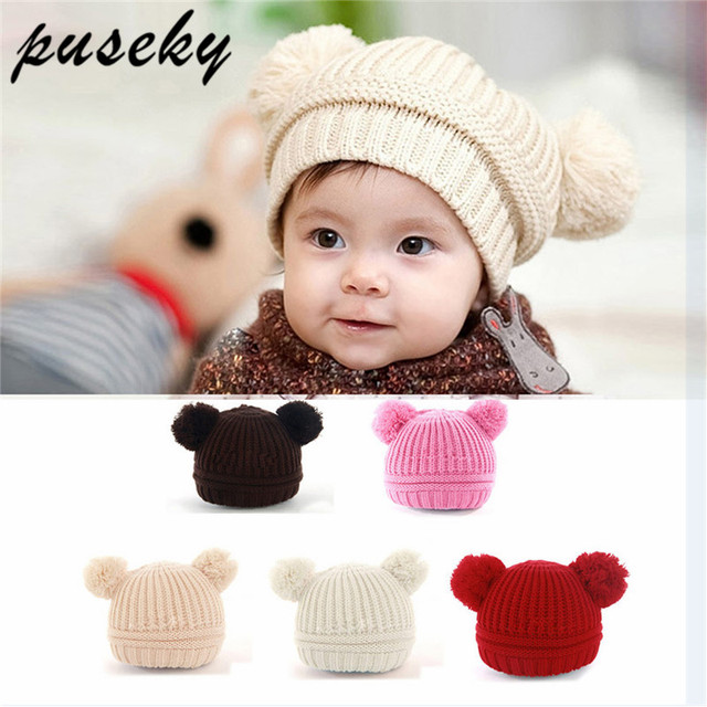 9725f242dbf Puseky Dual Pom Poms Ball Knitted Baby Caps Boys Girls Toddler Crochet  Beanie Hairball Ear Baby