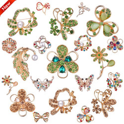 TODOX 2020Women Brooches gold color Crystal Rhinestone Flower pins clothes coat button Wedding Party dress Pins Christmas gifts