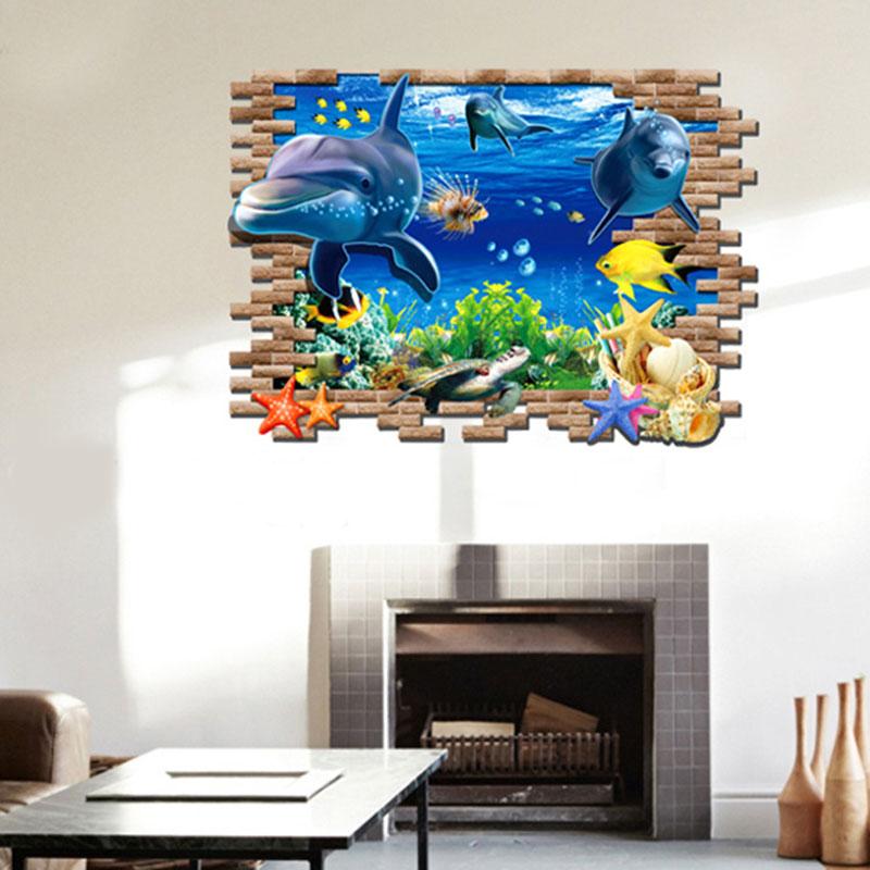 ộ_ộ ༽3d ملصقات الحائط غرف نوم العالم تحت الماء الدلفين ملصقات