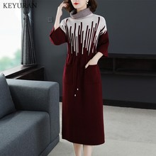 Women Knitted Bandage Dress Turtleneck Sweater Dres