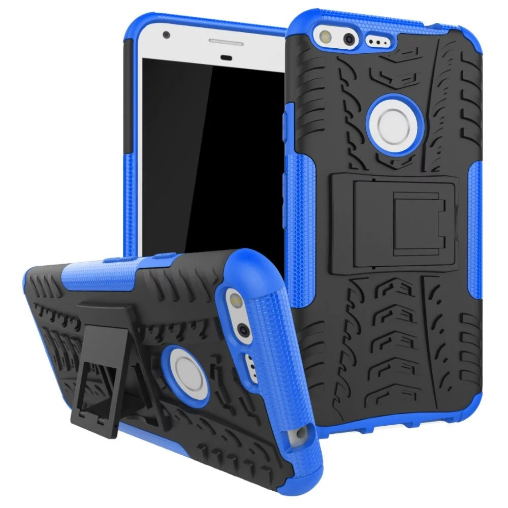 10Pcs/Lot 2 In 1 Comb Armor Hybrid TPU+PC Hard Cover Stand Case For Google Pixel /For Google Pixel XL