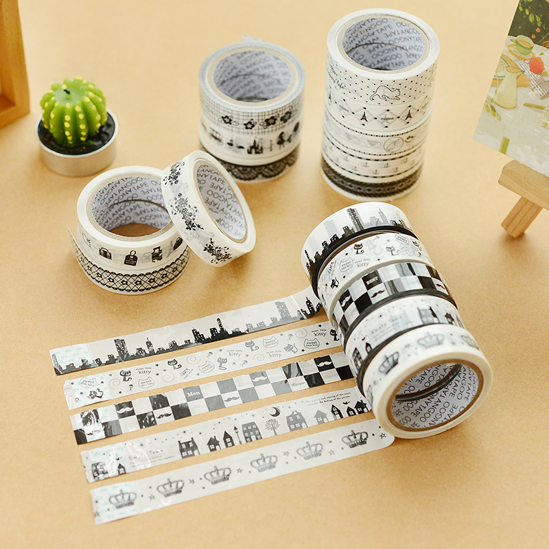 1PC Korea Stationery Creative DIY Decorative Lace Tape Cartoon Character Black And White Tape Lace Adhesive Tape