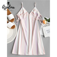 AZULINA Drawstring Stripes Slip Mini Dress 2018 Summer Women Sexy Dresses Boho Dress Casual Spaghetti Strap