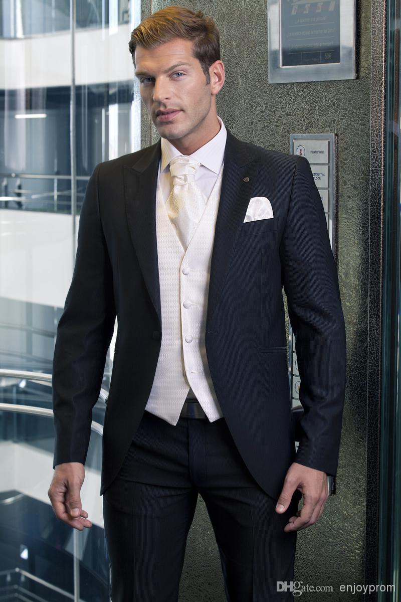 Custom Made Groom Tuxedosblack Formal Wear Wedding Party Groomsman