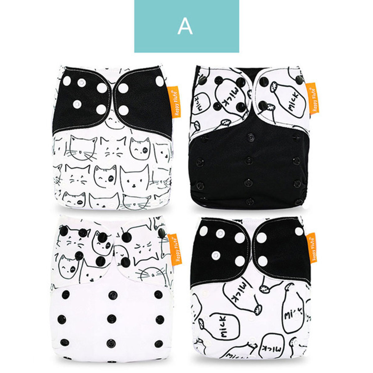 Puseky 4pcs/set Washable Cloth Diaper Cover Adjustable Nappy Reusable Cloth Diapers Cloth Nappy Fit 3-15kg Baby