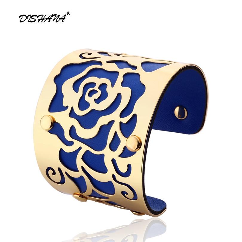 Gelang Manset emas-warna H Bunga Mawar Bangles Untuk Wanita Femme Perhiasan Lebar Gelang kulit S0001