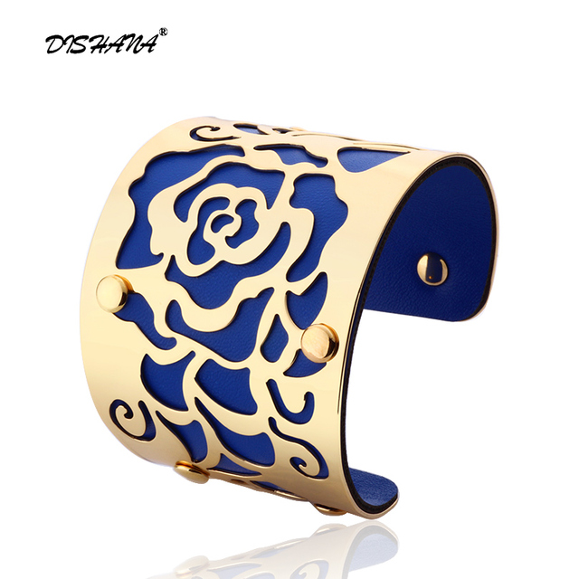 Gold-color Cuff Bracelets H The Rose Flowers Bangles For Women Femme Jewelry Wid