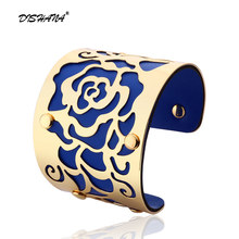 Gold-color Cuff Bracelets H The Rose Flowers Bangles For Women Femme Jewelry Wide leather Bracelet Bangles S0001(China)