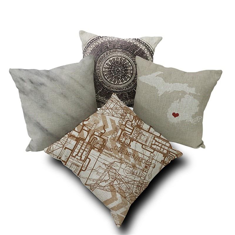 Decorative Cushion Throw Pillow Case D Cushion Linen Cotton - Us map pillow