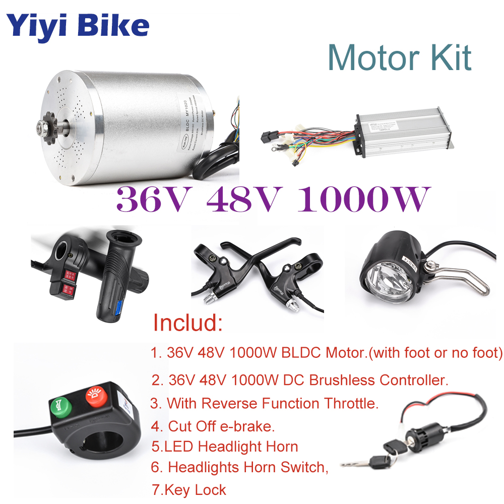 36V 48V 1000W BLDC Gear Motor Electric Bike Conversion Kit With Speed Controller Gas Twist Throttle