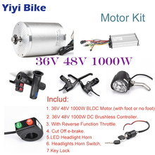 36V 48V 1000W BLDC Gear Motor Electric Bike Conversion Kit, With Speed Controller, Gas Twist Throttle, e-scooter Brake LED Light(China)