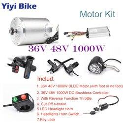 36V 48V 1000W BLDC motoreduktor zestaw do konwersji roweru elektrycznego  z regulatorem prędkości  gazu Twist przepustnicy  e skuter hamulca LED światła w Silniki do rowerów elektrycznych od Sport i rozrywka na