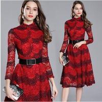 The high quality wavy lacy dress has a waist dress with waist belt cxfxtw