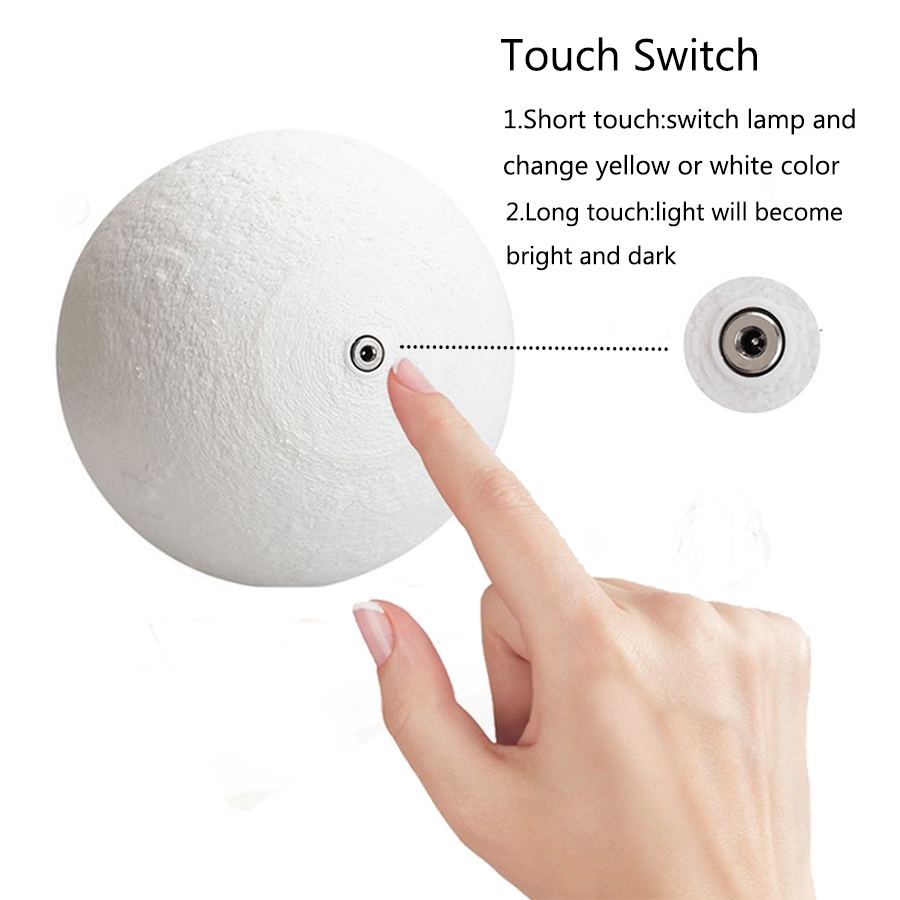 Rechargeable 3D Print Moon Lamp with LED Light For Bedroom Decoration 3