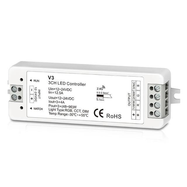 Nuevo controlador de tira Led 2,4 GHz RF receptor inalámbrico 12 V-24 V V1/V3/VP/V4/V4-L WW/RGB/RGBW receptor de tira 12V 5A/CH